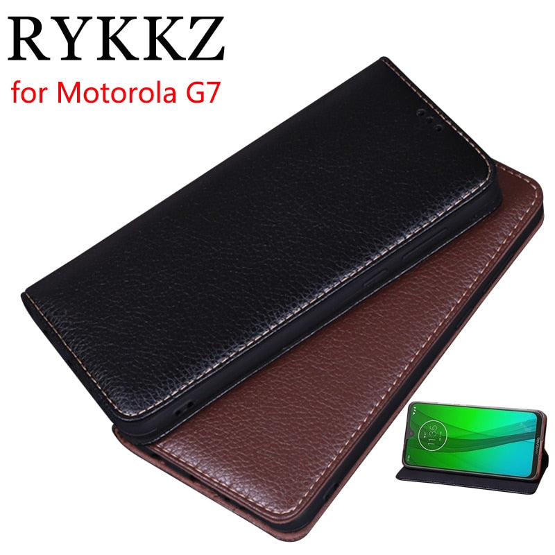 RYKKZ Luxury Leather Flip Cover For Motorola G7 Mobile Stand Case For Motorola G7 Play Plus Power Leather Phone Case Cover