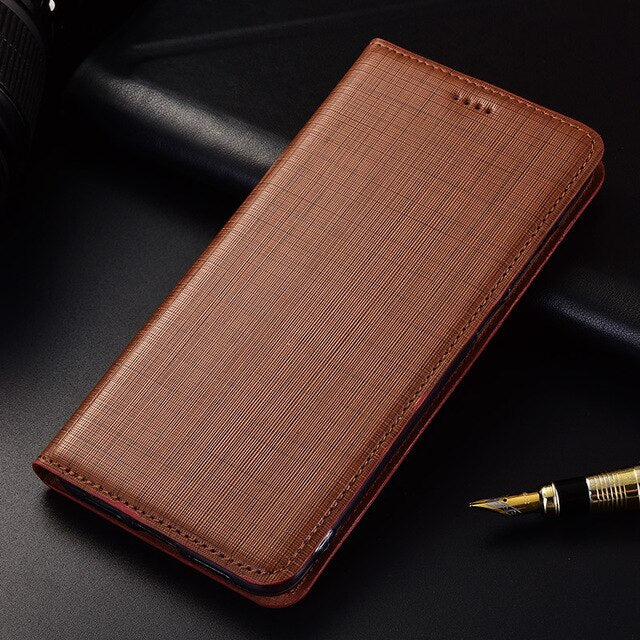 Genuine Leather Handmade Flip Case For LG X Power K220DS / LG X Power 2 Power2 M320 Stand Magnetic Phone Cover Bag