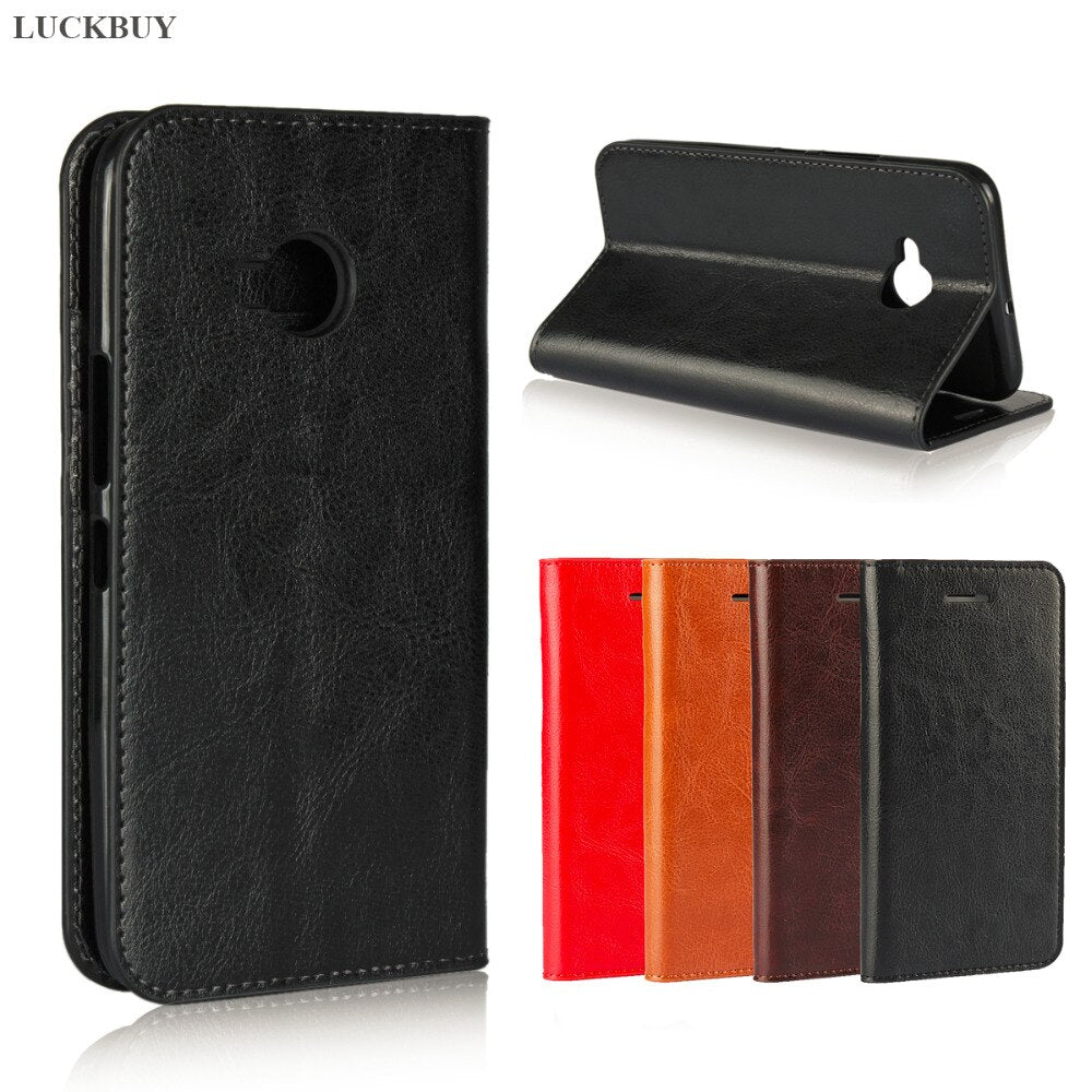 LUCKBUY High Quality Classic Business Crazy Horse Pattern Genuine Leather Flip Book Case for HTC U11 Life Luxury Wallet Cover