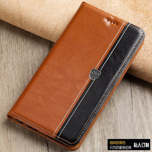 Fashion Stitching Color Cover Case For HTC One M9 M 9 Case Flip Stand Magnetic Genuine Leather Phone Cover Bag