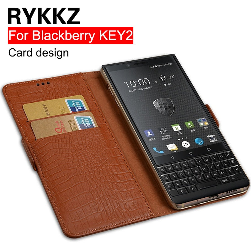 RYKKZ Genuine Leather Flip Cover Card For Blackberry KEY2 KEY Two BBF100-1 Mobile Protective Stand Case Leather Cover For KEYone