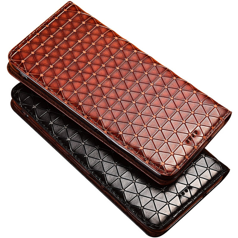 Fashion Stand Flip Phone Case Cover For Lenovo Z6 Pro Lite Genuine Cow Leather Card Design Case