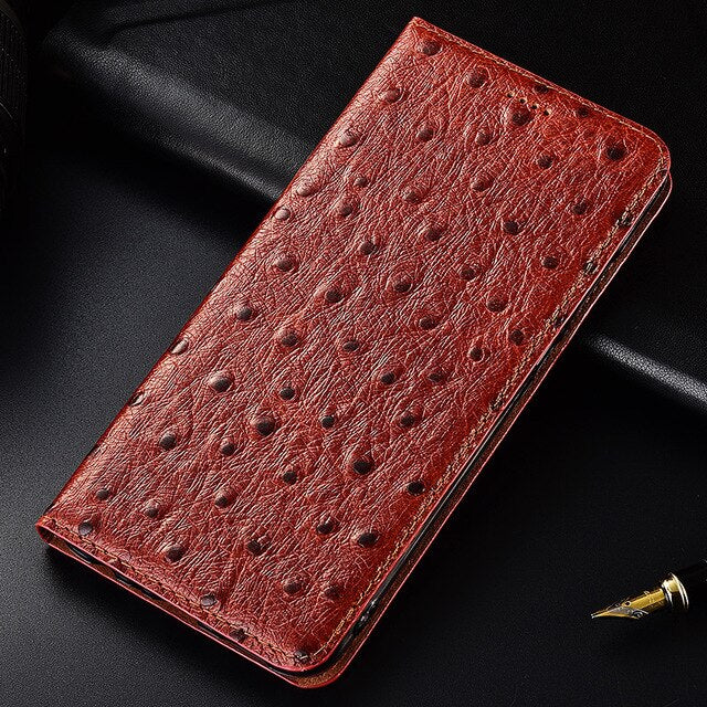 Ostrich Texture Genuine Cow Leather Case For Letv LeEco Coolpad Cool1 Dual Cover Flip Stand Magnetic Phone Bag