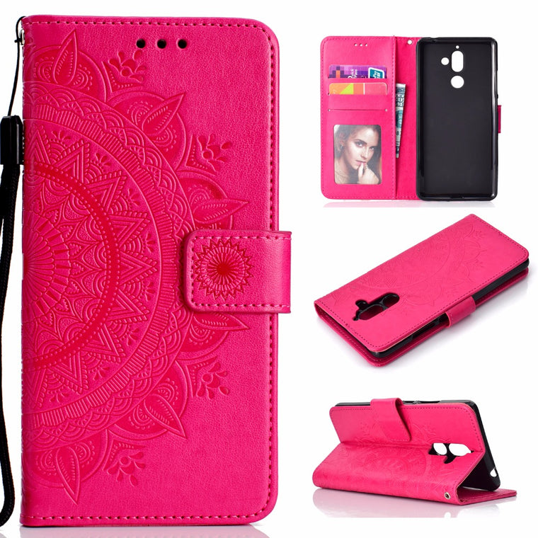 100pcs/lot Totem flower 3 card+photo frame book style leather cover case for Nokia 1 7 plus flip cover case housing