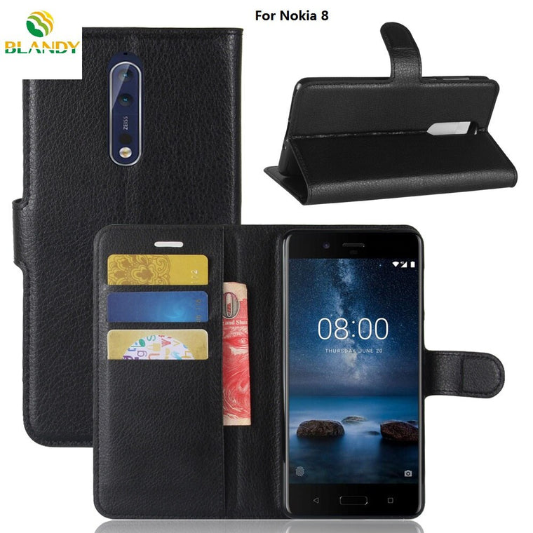 10pcs/lot For Nokia 8 Lychee Wallet Leather Case Stand With Card Holder For Nokia 6 5 3