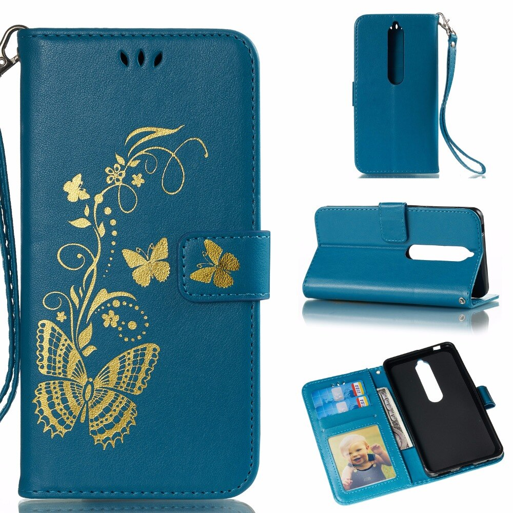 100pcs/lot Free shipping Gilding Butterfly 3 card+photo frame new leather cover case for Nokia 2 6 2018 7 7 plus 8 sirocco