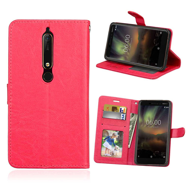 100pcs/lot Crazy horse 3 card+photo frame leather high quality cover case for Nokia 2 3 5 6 7 8 8 Sirocco 6.1 2018 shell