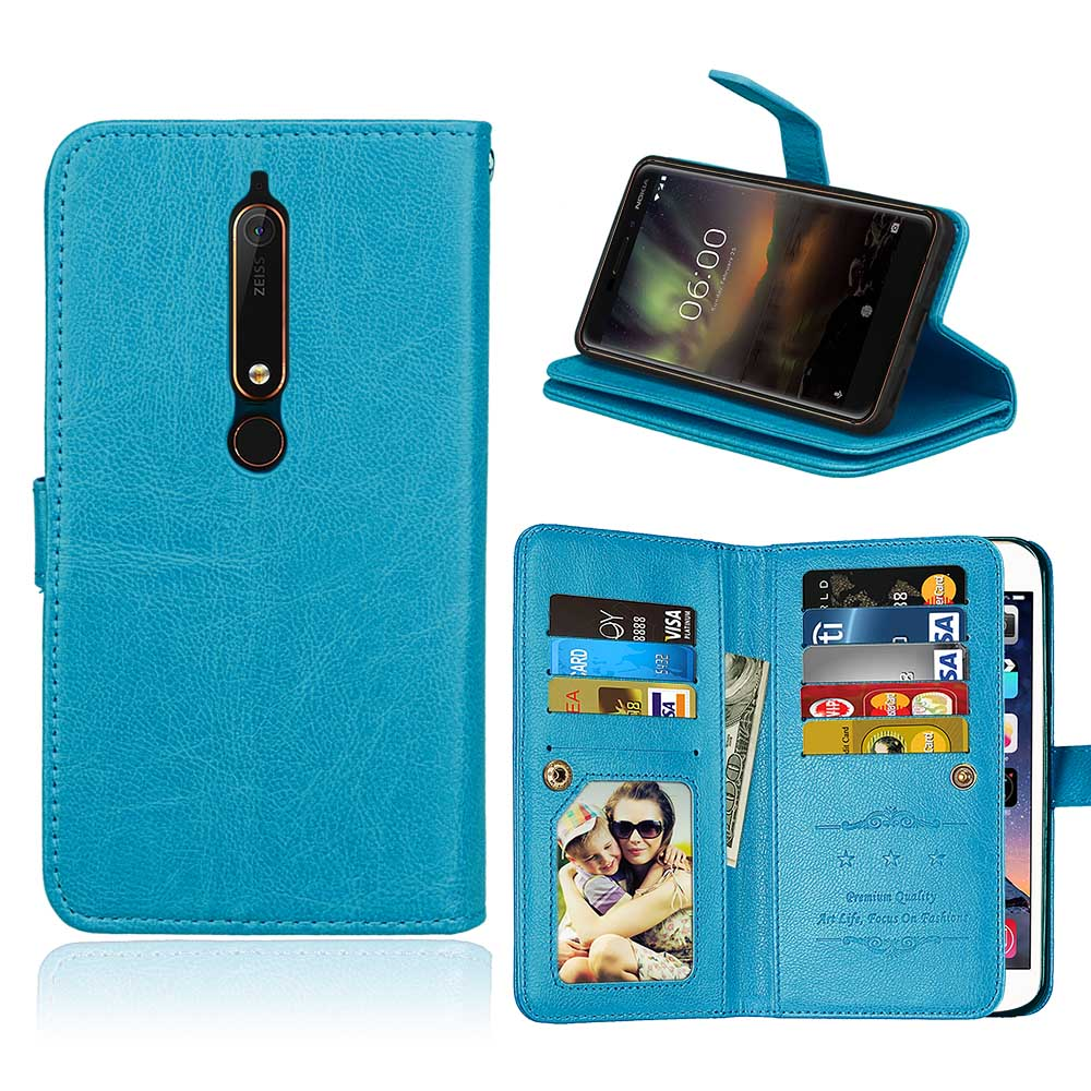 50pcs/lot Crazy horse 9 card+photo frame protection shell PU case cover for Nokia 2 3 5 6/6.1 2018 leather case cover