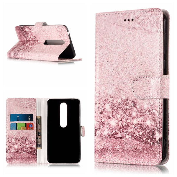 50pcs/lot Free shipping Coloured drawing Marble 2 card pu leather cover case for Nokia 1 6 2018 7 plus protective case cover