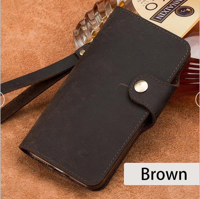 Genuine Leather flip wallet case For Xiaomi redmi note 8 Pro 8t 7 retro leather anti buckle silicone Full protect phone cover
