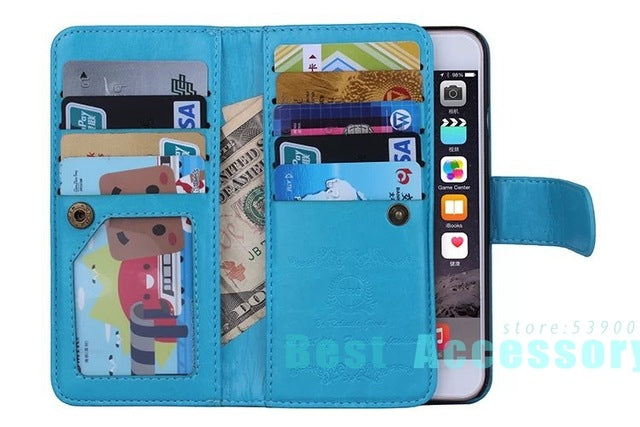 For iPhone 6 Case Leather Magnetic Detachable 9 Cards Slots Flip Wallet Case For iPhone 11 PRO MAX Case X XR  6 Plus 7 Plus Case