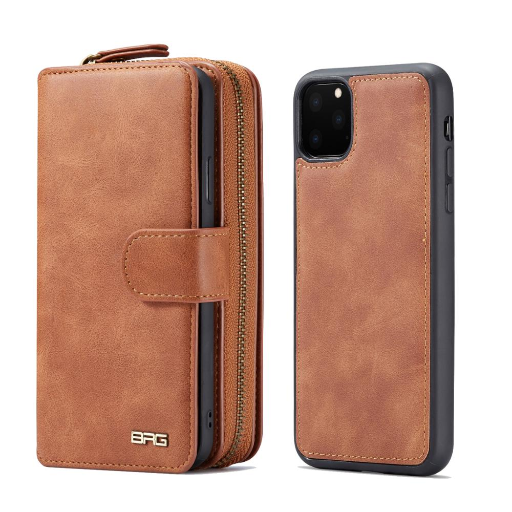 BRG Multifunction Wallet Leather Case For iphone 11 Pro Max 6 6s 7 8 plus X Xs Max XR Zipper Purse Pouch Bags Business Handbag