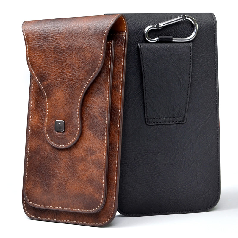 "Universal Cell Phone for 4.0""-6.3"" Large PU Leather Wallet Case Bag Belt Clip Hanging Ring Vertical Flip Pouch for iPhone Galaxy"