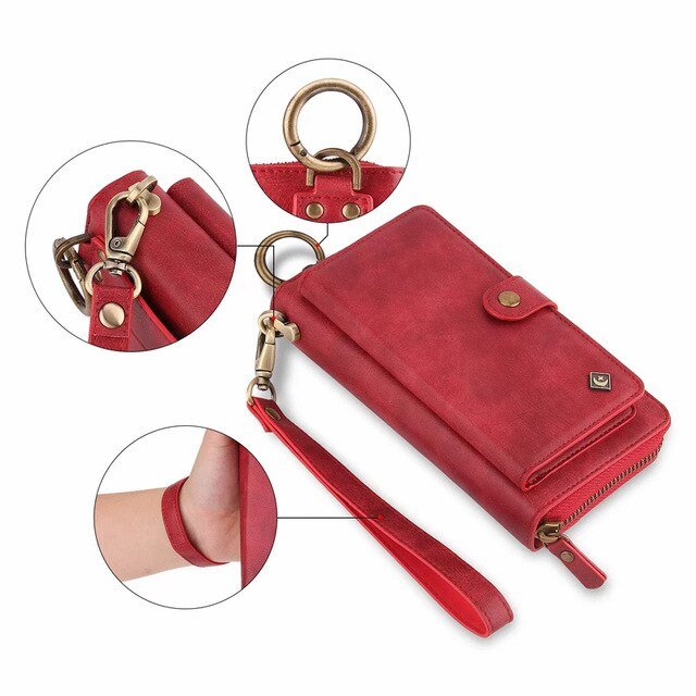 Lanyard Card Wallet Zipper Phone Bags Fundas for Huawei P30 Pro / P30 Lite Case Cover Luxury Leather Magnetic Back Cover Coque