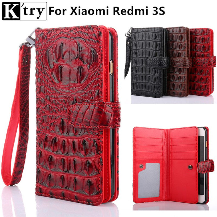 K'try for Xiaomi Redmi 3s Case Cover 3 pro Luxury Leather +Soft Silicone Wallet Flip Cover For Xiaomi Redmi 3s 3 pro Fundas