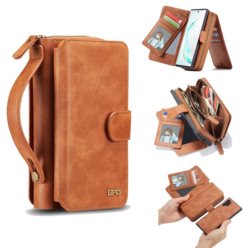 BRG Multifunction Wallet Leather Case For Samsung Galaxy Note 10 Pro 8 9 S10 S10E S9 S8 Plus S7 Edge Zipper Purse Bags Handbag