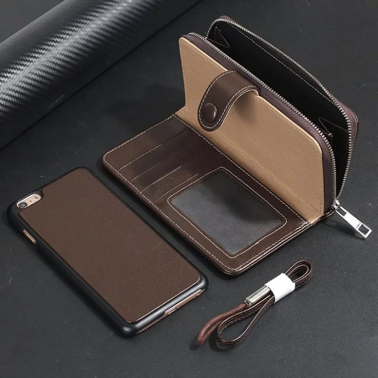 2 in 1 Real Genuine Leather Case Wallet Cover for iphone 8 7 Plus Flip Cover MYL-43K Zipper Phone Bag Classic Business case