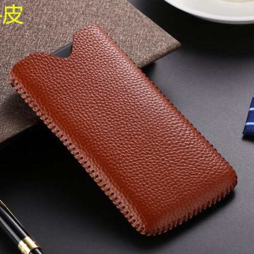 6 Colors Real Leather Pull Sleeve Pouch Phone Case for iPhone X XR XS MAX Genuine Cowhide Cow Skin Wallet Bag For iPhoneX