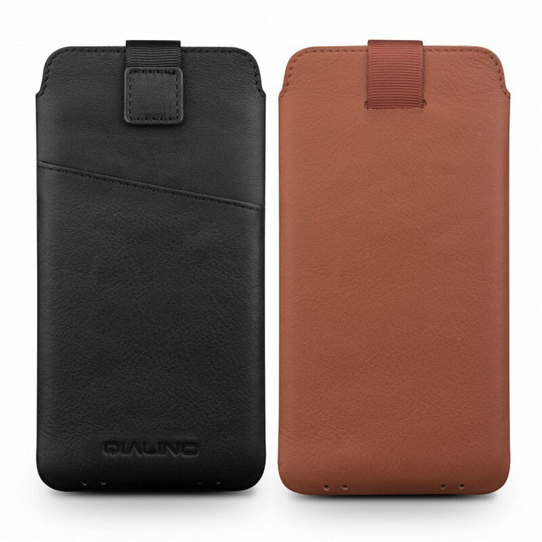 2019 Genuine Leather Pull Tab Sleeve Pouch Bag Cover Natural Cowhide Phone Case For iPhone 6 6S 7 8 Plus Original Qialino Brand