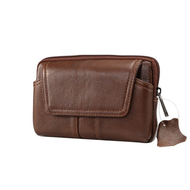 Man Father Gift Waist Belt Cowhide Genuine Leather Case Phone Cover Wallet Bag for IPhone for Samsung for Huawei Waist Bag