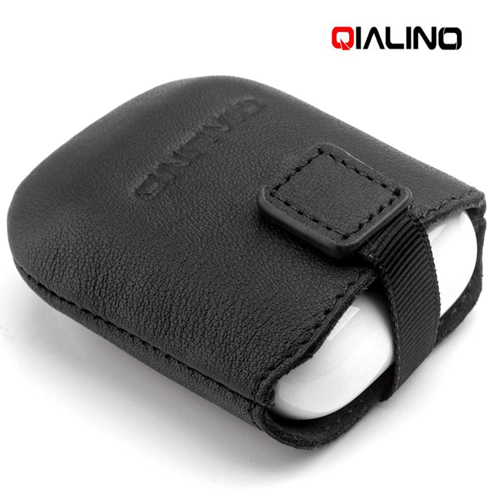 QIALINO Strap Leather Case for AirPods Apple Genuine Leather Cover Case Mini Pockets Magnetic Storage Earphone Pouch Bag Black