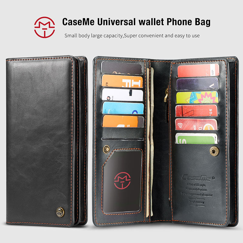 6.5 Universal Genuine Leather Flip Card Phone Wallet Pouch for Samsung S9 S10 Plus Note 10 9 Iphone 11Pro XS Max XR X Phone Case