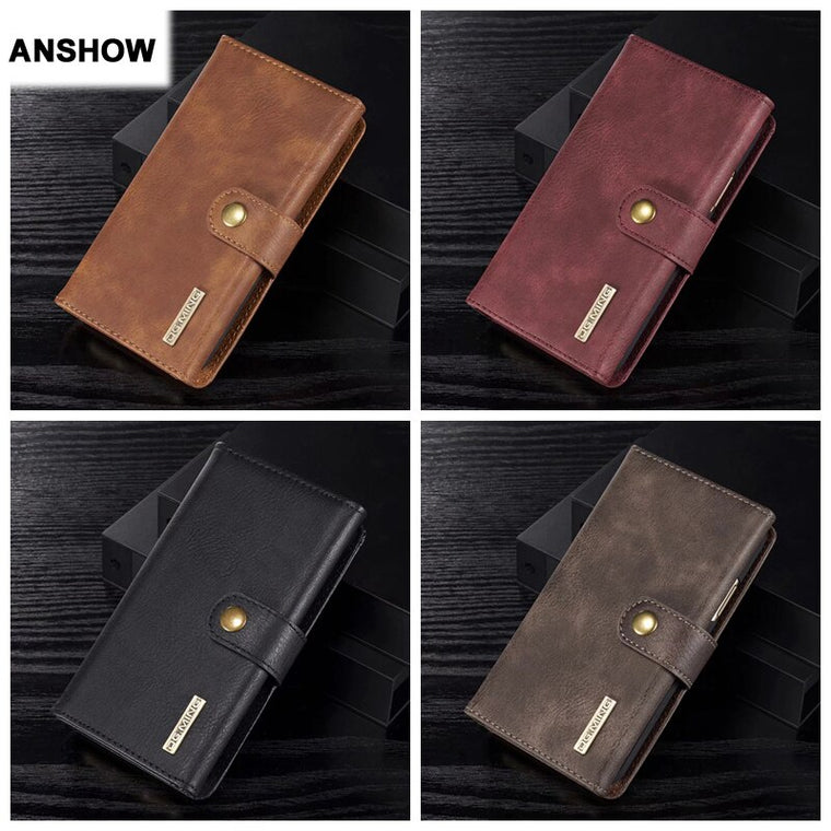 3 Fold Leather Removable Wallet Case For Galaxy Note 10 Pro 9 8 S9 Plus Magnetic Detachable Cover Card Slot 15PCS