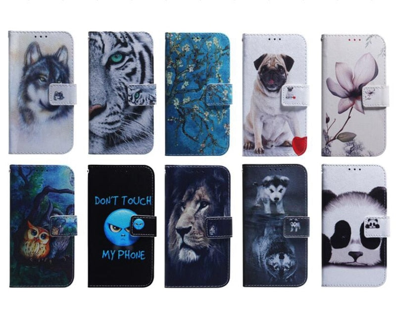 Leather Wallet Case For Galaxy S20 A71 A51 For Moto G8 Plus E6 PLAY For LG K40S Aminal Flower Dog Wolf Tiger Lion Panda 50PCS
