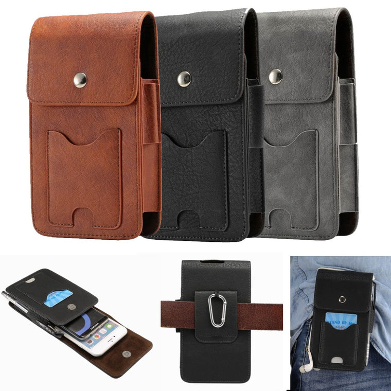 30pcs/lot Universal Multifunction Wallet Hook Waist Bag Pouch Case For 6.3 inch All Cell Mobile Smart Phone Can Put 2 Phone