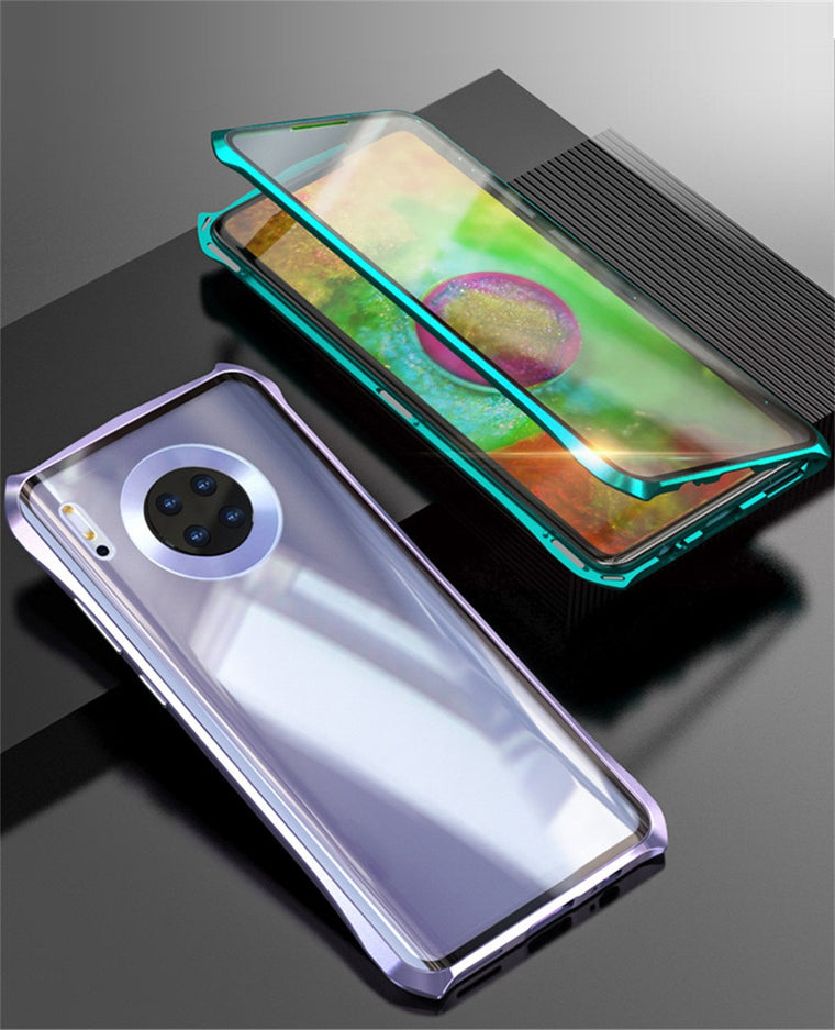 1PC 9H tempered glass back phone cover For HUAWEI Mate 30 Pro 6.53inch  Magnetic Adsorption Metal Bumper Glass Case Cover