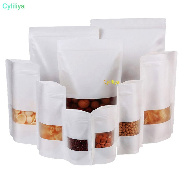 500pcs Moisture-proof Bags,Kraft Paper with three layer white color, Ziplock Packaging Bag for Snack Candy Cookie baking