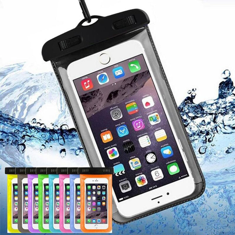 50pcs Waterproof Phone Case Cellphone Water Proof Iphone Underwater Pouches Fluorescent Edge Dry Bags with Lanyard for iphone