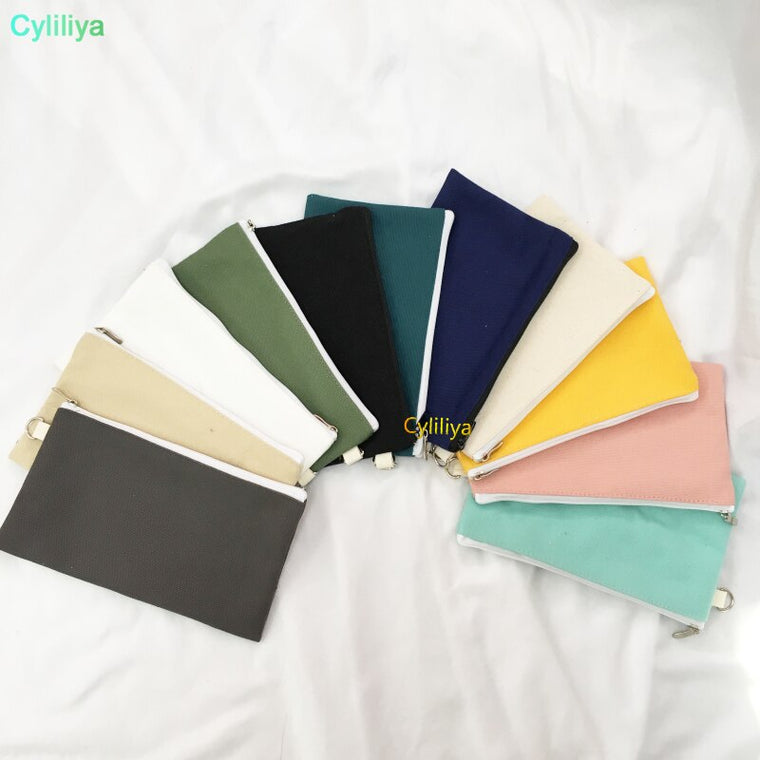 100pcs Coloful blank canvas zipper Pencil cases pen pouches cotton cosmetic Bags makeup bags Mobile phone clutch bag organizer
