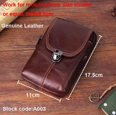 Belt Clip Man Genuine Cow Leather Mobile Phone Case Pouch For LG G Vista 2,Blackview P2 Lite/A9 PRO/P2/E7/E7S/A8 Max/R7/A8