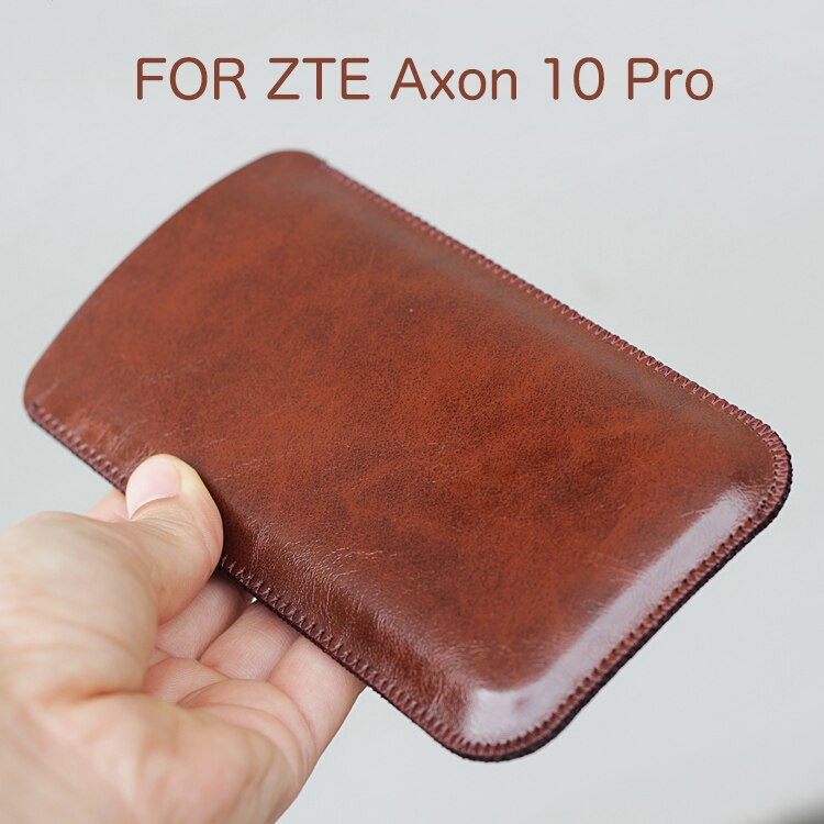Universal Fillet holster Phone Straight leather case retro simple style for ZTE Axon 10 Pro Pouch