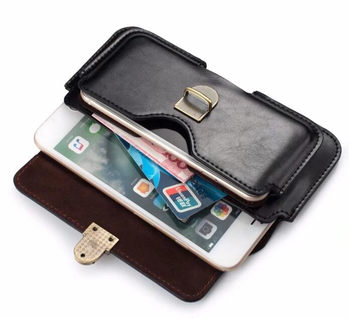 Dual Pouch Leather Belt Clip Mobile Phone Case For Meizu 15/15 Lite/15 Plus/M6s/E3/M6 Note/Pro 7 Plus/M5c/MX5e M5S/E2/Pro 6 Plus