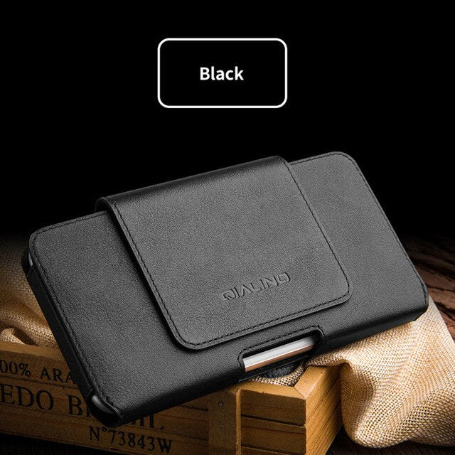 Handwork Genuine Leather Universal Phone Pouch For OPPO RX17 Neo AX7 R17 F9 Pro AX5 A5 A7X A3s Waist Bag Belt Clip Phone Cover