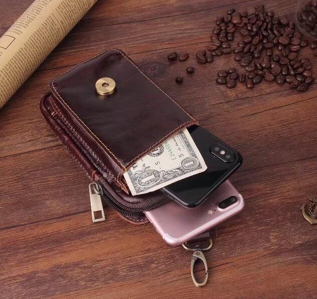 Belt Clip Man Genuine Cow Leather Mobile Phone Case Pouch For Sony Xperia L2/Xperia XA2,Wiko View/View XL/View Prime,Oppo A83