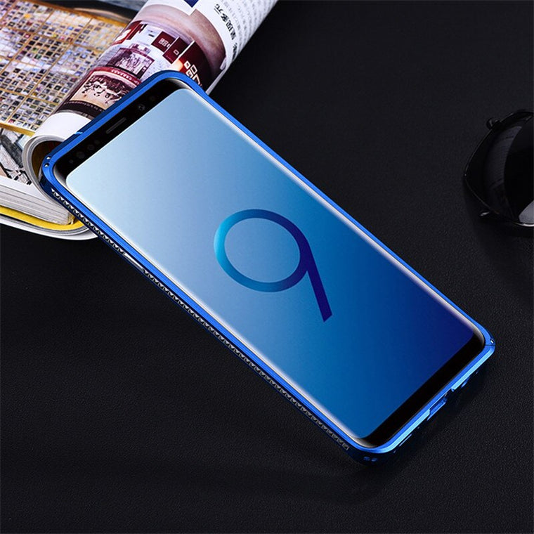 Original iMatch Bumper Case For Samsung Galaxy S9 S8 Plus S7 Luxury Diamond Shape Aluminum Metal Invisible Kickstand Frame Case