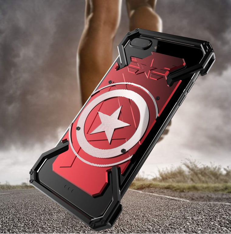 R-JUST For iphone 6 6s 7 8 plus supper hero Captain America Armor Heavy Dust CNC Metal protect Skeleton head phone case cover