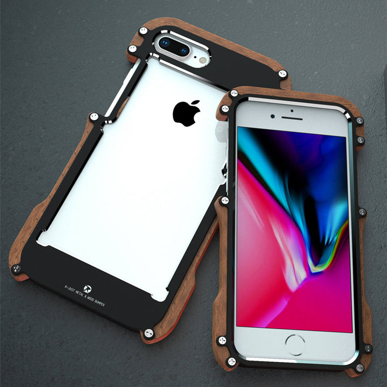 R-just Wood Case For iPhone 8 7 Plus Shockproof Case Metal Frame Bumper Cover For iPhone 8 Plus Case Aluminum Shell