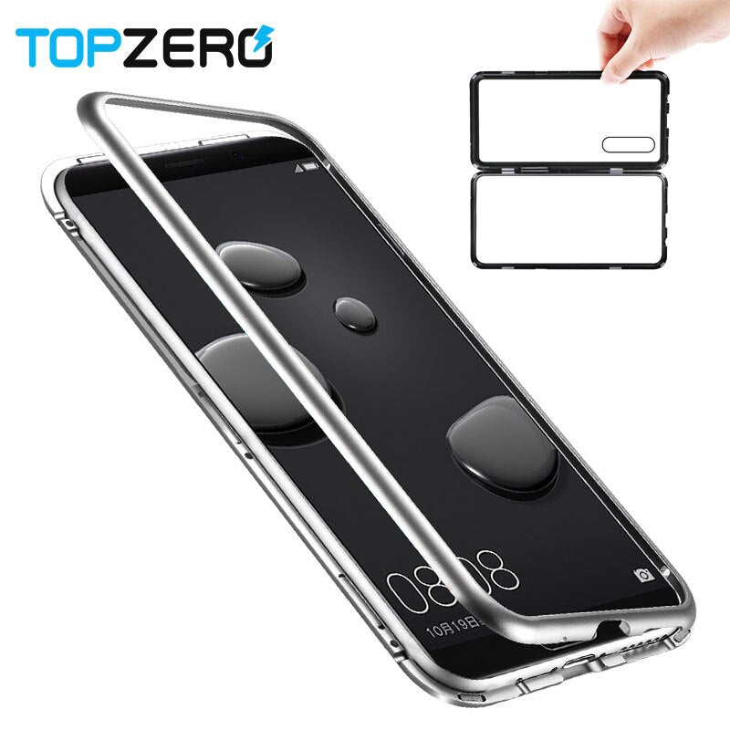 Magnetic Case For Huawei Mate 9 10 Tempered Glass Back Cover For Huawei Mate 10 9 P20 Pro honor 10 Magnet Metal Aluminum Case