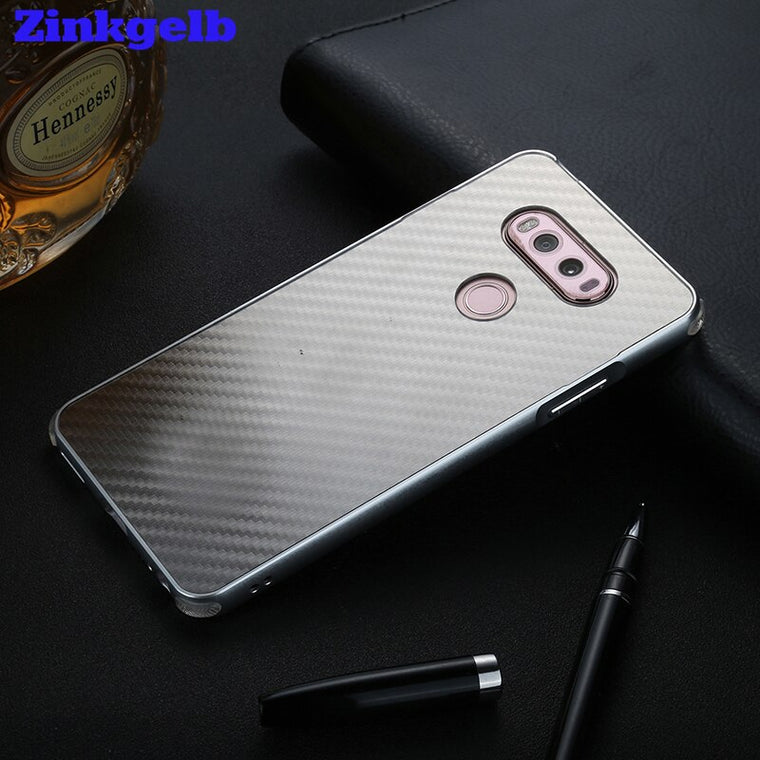 Zinkgelb 2017 New For LG G5 V20 Case Luxury Glitter Slim Hard Metal bumper+Carbon fiber Armor protective Back Phone Case Cover