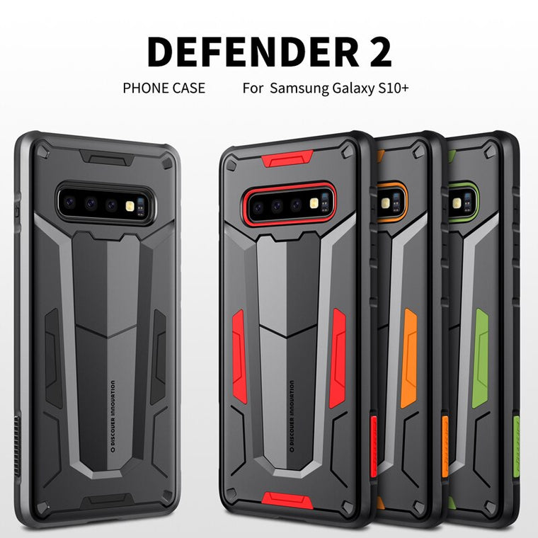 10pcs/lot Wholesale Nillkin Defender II Case With Stand Impact Hybrid Armor Hard Cover For Samsung Galaxy S10 plus Phone Case