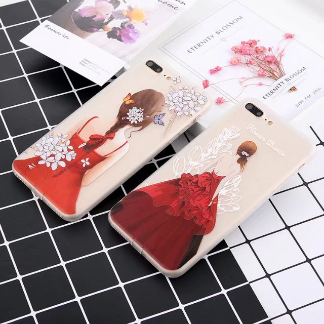100pcs DHL 3D matte TPU soft Cases For iphone 6 6s 7 plus beauty girl Back cute Cover Fashion Shell Cell Beautiful Phone Case