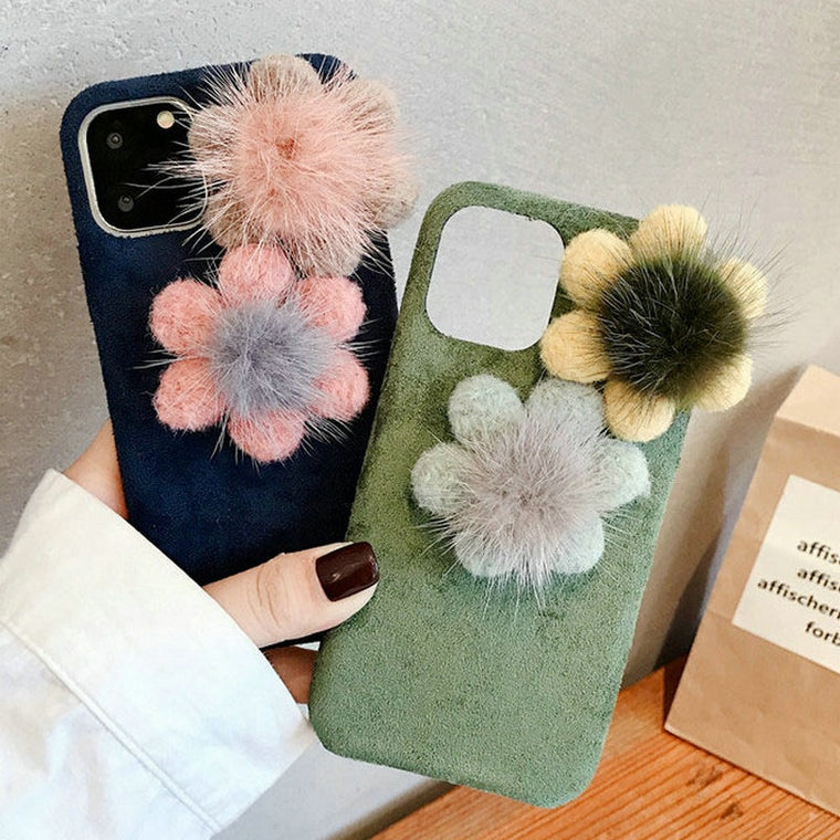 10pcs/lot Mink hair Flower Case For iPhone XS XR XS MAX 6S 7 8 Plus Winter Warm Floral Phone Cover For iPhone 11 Pro