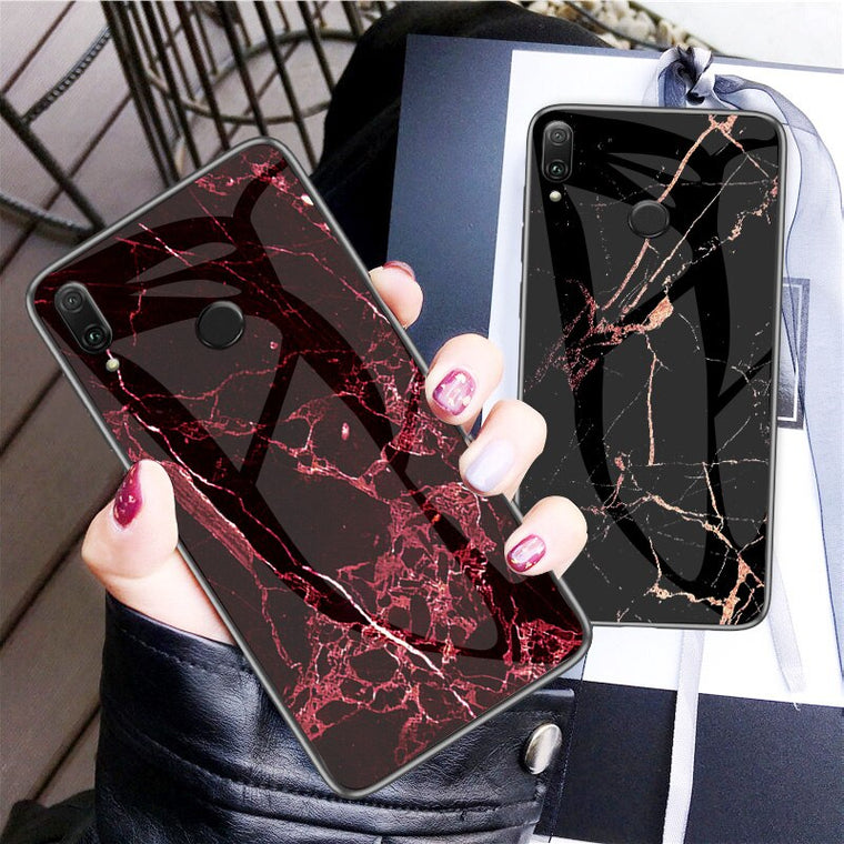 100pcs/lot Marble Pattern Tempered Glass Soft TPU Frame Cases For Huawei P Smart PLUS 2019 Honor 10i Enjoy 9S P20 Lite 2019