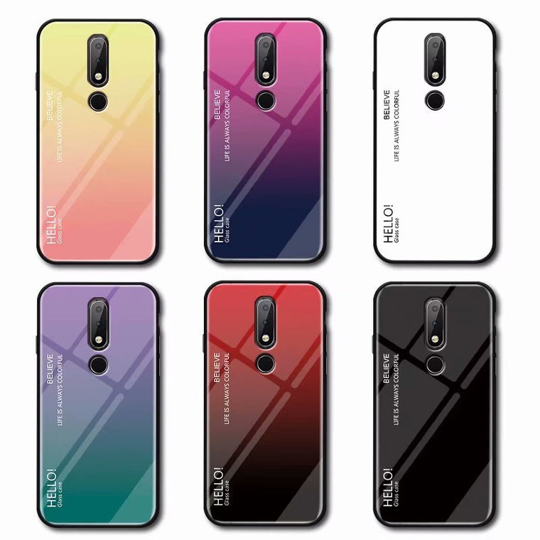 100pcs/lot free shipping Gradient Tempered Glass Back Cover Case For Nokia 7.1 X7 7.1 PLUS For Nokia 3.1 For Nokia 8 Sriocco
