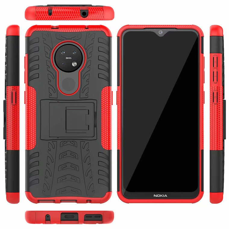 100pcs/lot 2 in 1 Comb Armor Kickstand Hybrid Impact Resistant Tire Case For Nokia 2.1 2V 7.2 4.2 3.2 2.2