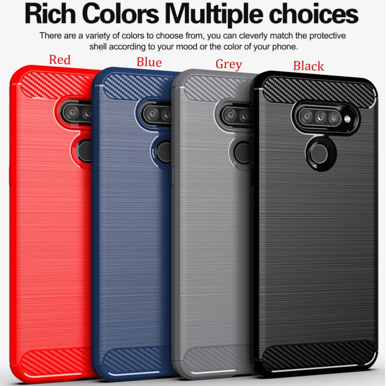 100pcs/lot For LG V60 ThinQ Soft TPU Shockproof Rugged Brushed Carbon Fiber Case For LG K50S